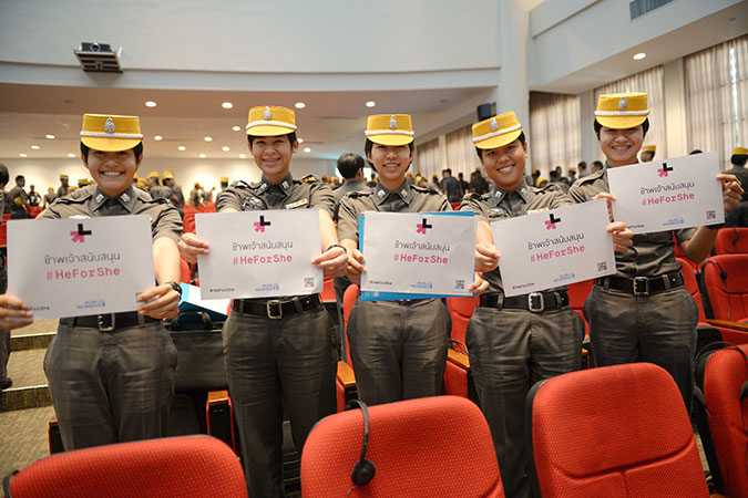 Police cadets in Thailand took part in a discussion organized by UN Women and other partners to support the HeForShe and SpeakUpSpeakOut Campaigns. Photo: UN Women/Pathumporn Thongking