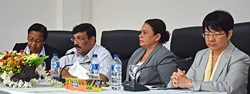 From left to right, Guilhermina Ribeiro Saldanha (Director General of Ministry of Interior); Longuinhos Monteiro (Minister of Interior), Veneranda Lemos (Secretary of State for Support and Socio-economic Promotion of Women), Janet Wong (UN Women/Country Representative) during validation of the NAP 1325 in November 2015. Photo: UN Women/Christina Yiannakis