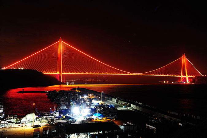 One of three bridges in Istanbul, Turkey that was lit orange. Photo: Istanbul Metropolitan Municipality