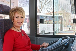 Pelin Aslantaş, 43, is the only female bus driver in the city of Edirne, in north-western Turkey. Photo: UN Women/Gizem Yarbil