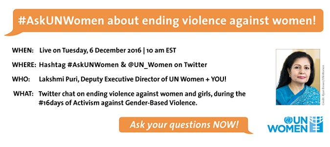 #AskUNWomen Twitter chat on ending violence against women