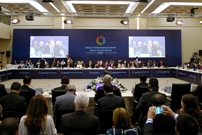 """UN Secretary-General Ban Ki-Moon speaks at the High-Level Leaders' Roundtable on """"Managing Risks and Crises Differently"""". Photo: World Humanitarian Summit"""