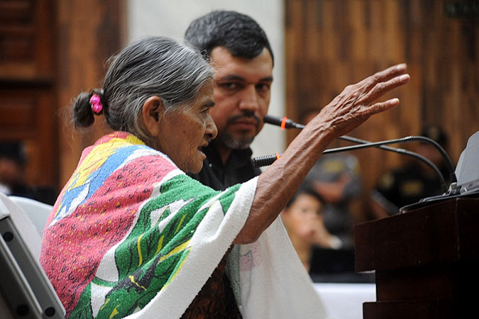 A woman testifies during  the trial in Guatemala's High-Risk Court in February 2016. Photo: Cristina Chinquin