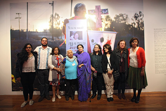 """UN Women Deputy Executive Director Lakshmi Puri at the first-ever permanent exhibition on femicide in Mexico titled, """"Feminicidio en México. ¡Ya basta!"""" (Femicide in Mexico. Enough is enough!) opened in the Museum of Memory and Tolerance, organized by UN Women, CDD, OCNF and the Ford Foundation. Photo: UN Women/Dzilam Méndez"""
