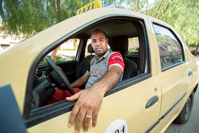 Rochri Ahmimid, beneficiary of the taxi drivers training programme. Photo: UN Women/Hassan Chabbi