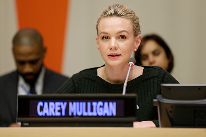 Actor and UK Global Dementia Friends and Alzheimer's Society Ambassador, Carey Mulligan participates in the official commemoration of the International Day for the Elimination of Violence against Women in New York. Photo: UN Women/Ryan Brown