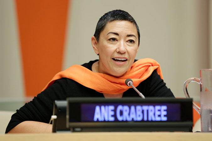 "Costume designer of the Emmy-award winning series""The Handmaid's Tale"", Ane Crabtree speaks at the official commemoration of the International Day for the Elimination of Violence against Women in New York. Photo: UN Women/Ryan Brown"