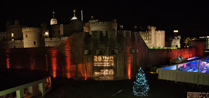 The Pavilion at the Tower of London lit orange. Photo: UN Women/UN Trust Fund/Paul Milsom