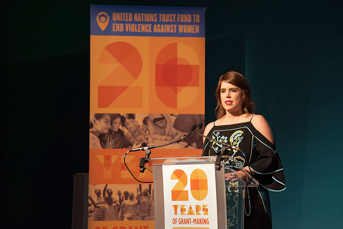 Princess Eugenie of York speaking at the UN Trust Fund Gala Photo: UN Women/UN Trust Fund/Paul Milsom