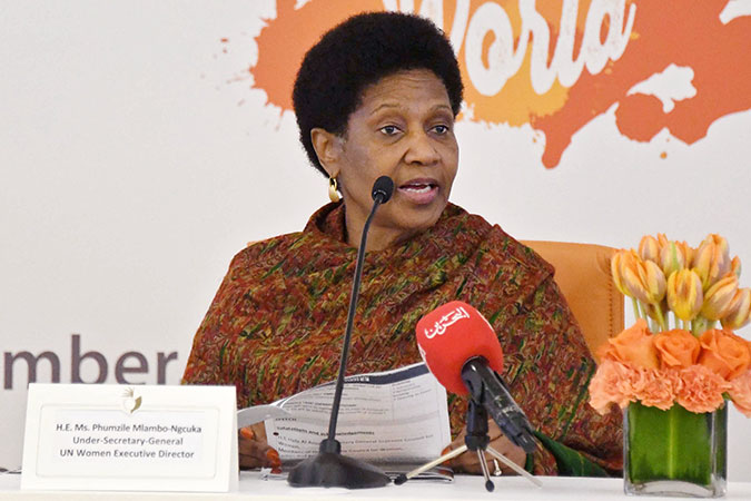 UN Women Executive Director Phumzile Mlambo-Ngcuka speaks at a 16 Days of Activism event to raise awareness about ending violence against women. At the event, the Supreme Council for Women and Ministry of Interior launched Bahrain's new database on domestic violence. Photo: Supreme Council for Women Bahrain