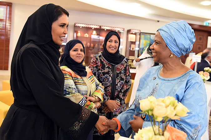 Ms. Mlambo-Ngcuka speaks with national stakeholders and partners working on women's issues. Photo: Supreme Council for Women Bahrain