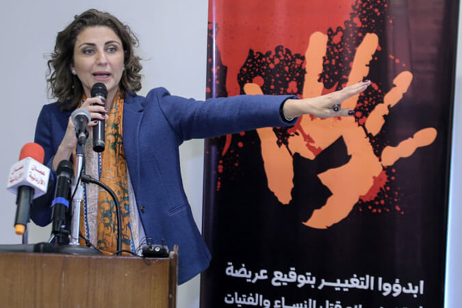 Salma Nims, Secretary-General of the Jordanian National Commission for Women, launched a petition to collect signatures demanding the amendment of national laws that discriminate against women, during the joint press conference organized at Jordanian National Commission for Women on 22 November 2016, at the launch of the 16 Days of Activism Against Gender-Based Violence campaign in Jordan. Photo: Jordanian National Commission for Women.