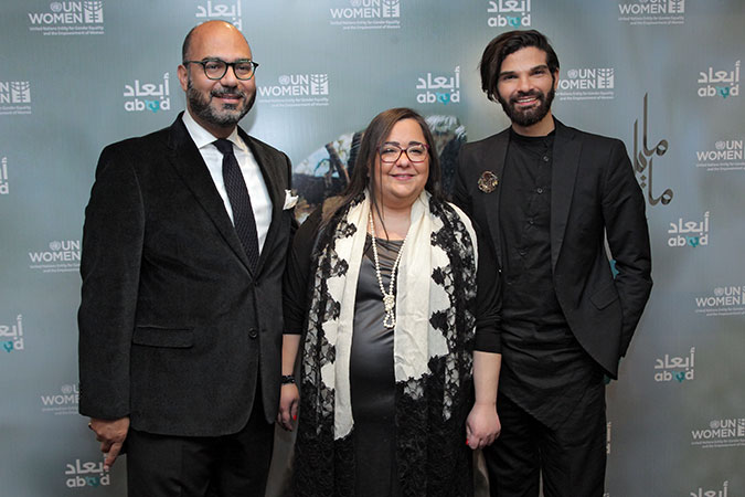 """UN Women Regional Director for Arab States Mohammad Naciri, ABAAD Director, Ghida Anani, and musician Mike Massy at the National Concert event in Beirut Lebanon which featured the launch of Massy's song """"Kermali"""" which was produced with the participation of women survivors of violence. Photo: ABAAD"""