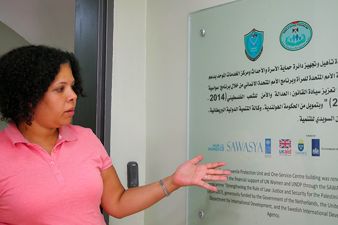 UN Women staff Bisan Mousa explains how Sawasya programme has been supporting the Government of Palestine to build its own capacity to support survivors of violence. Photo: UN Women/Eunjin Jeong