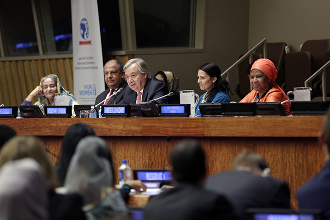 Prime Minister of Bangladesh, Sheikh Hasina; President of Costa Rica, Luis Guillermo Solís Rivera; UN Secretary-General António Guterres; United Kingdom Secretary of State, International Development, Priti Patel; and UN Women Executive Director Phumzile Mlambo-Ngcuka take part in the 'Leave No One Behind: Actions and Commitments for Women's Economic Empowerment' event on 19 September in New York. Photo: UN Women/Ryan Brown