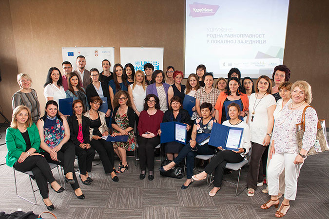 Women councillors unite for gender equality at the local level. Photo: UN Women/Igor Pavicevic