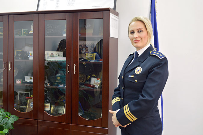 Colonel Taibe Canolli, Director of Personnel and Administration and President of the Association of Women in the Kosovo Police. Photo: UN Women Kosovo/Solène Moutier