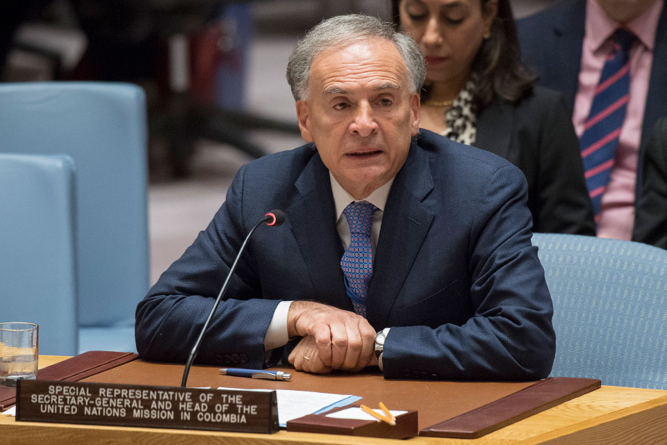 Jean Arnault speaks at UN  Headquarters in New York. Photo: UN Photo/Eskinder Debebe