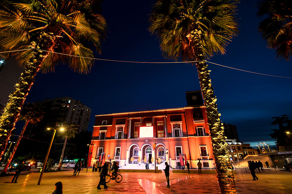 In Durres, Albania, the municipality building was lit in orange  on 25 November. Photo: UN Women/Eduard Pagria