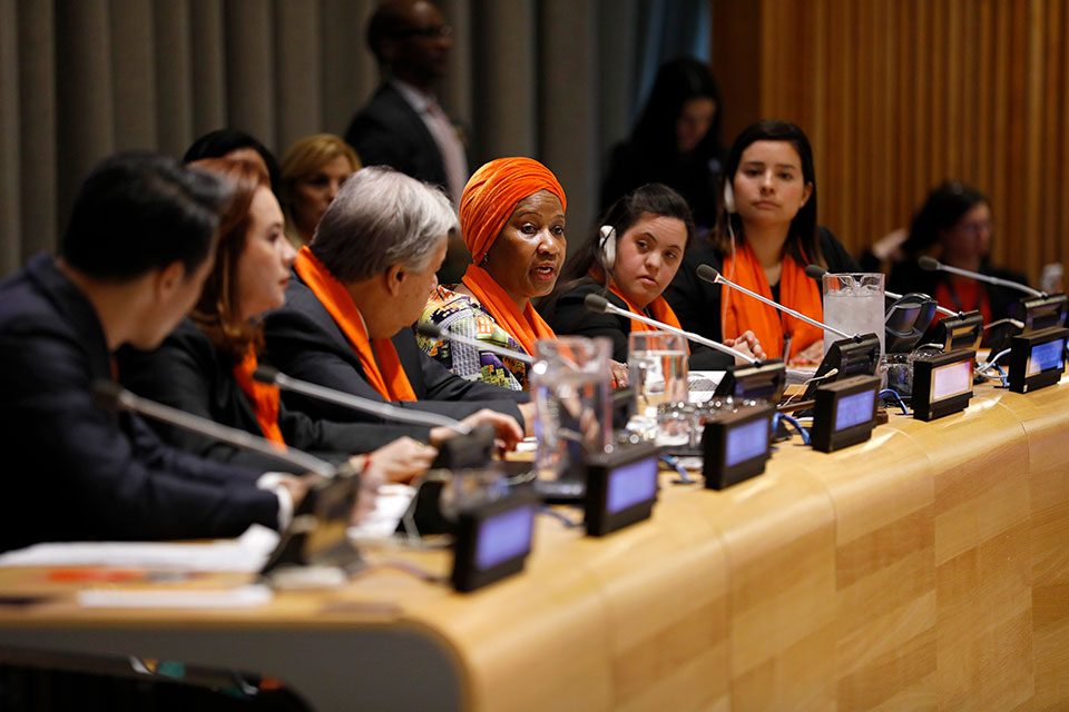 UN Women Executive Director Phumzile Mlambo-Ngcuka speaks at the official UN Commemoration of International Day for the Elimination of Violence against Women. Photo: UN Women/Ryan Brown