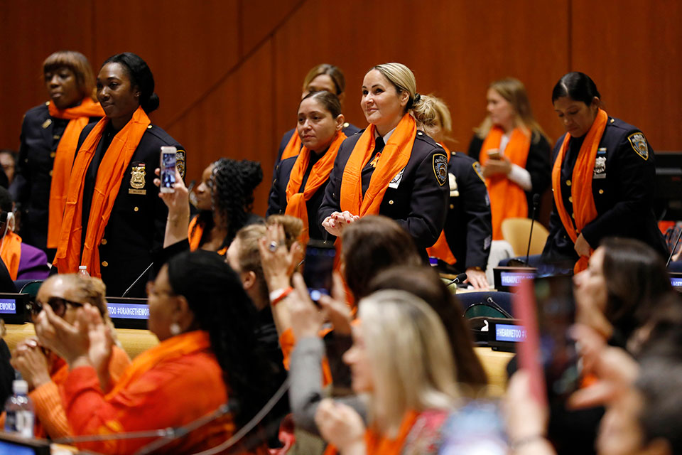 Representatives of the NYPD Women's Institute attend the official UN Commemoration of International Day for the Elimination of Violence against Women. Photo: UN Women/Ryan Brown