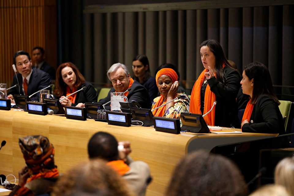 Activist and UN Trust Fund to End Violence against Women grantee Daniela Elizabeth Giuliano, speaks at the UN Commemoration of International Day for the Elimination of Violence against Women. Photo: UN Women/Ryan Brown