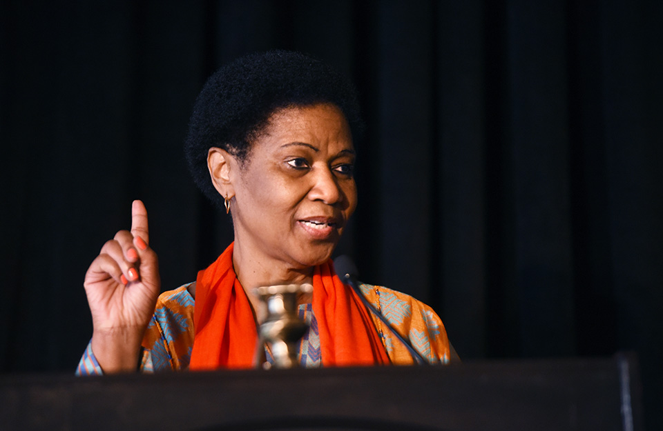 UN Women Executive Director Phumzile Mlambo-Ngcuka speaks at the UN Trust Fund fundraising luncheon. Photo: UN Women/Kyle Espeleta