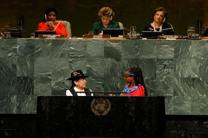 Activists Tarcila Rivera Zea from, Peru and  Purity Soinato Oiyie, from Kenya at theopening plenary of the 62nd session of the  UN Commission on the Status of Women. Photo: UN Women/Ryan Brown