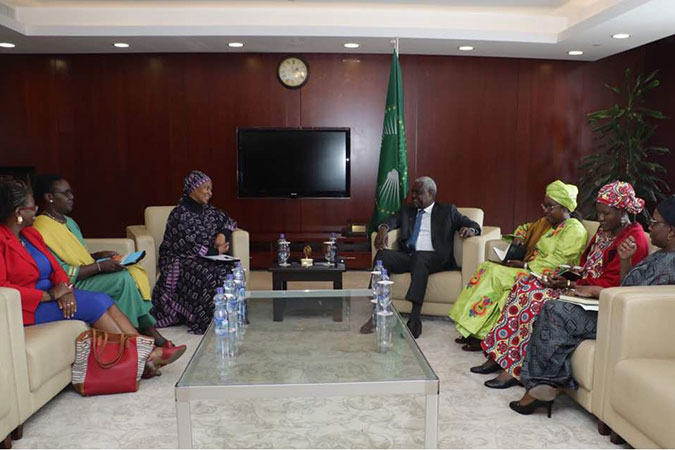 After the opening ceremony of the second Forum of the African Women Leaders Network, UN Women Executive Director, Phumzile Mlambo-Ngcuka, met the Chairperson of African Union, Moussa Faki Mahamat, to reiterate the commitment of UN Women to work closely with the AU to advance the Gender agenda in Africa and to ensure that African Women Leaders play a decisive in the transformation of Africa.  Photo: UN Women