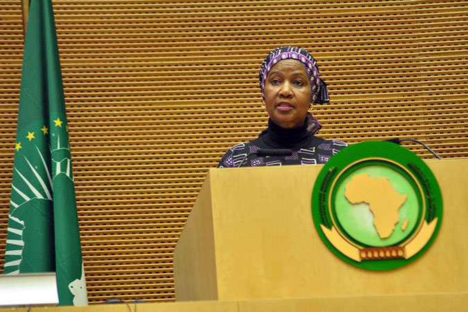 """UN Women Executive Director Phumzile Mlambo-Ngcuka gave a speech during the opening the ceremony of the second Forum of the African Women Leaders Network. """"The network has the vital mission to have African women take their rightful place in Africa and the world,"""" she said. """"We are committed to hold our leaders accountable, and to be accountable to the women and girls of Africa. We are not outsourcing our responsibility, we are part and parcel of the work that needs to be done""""."""