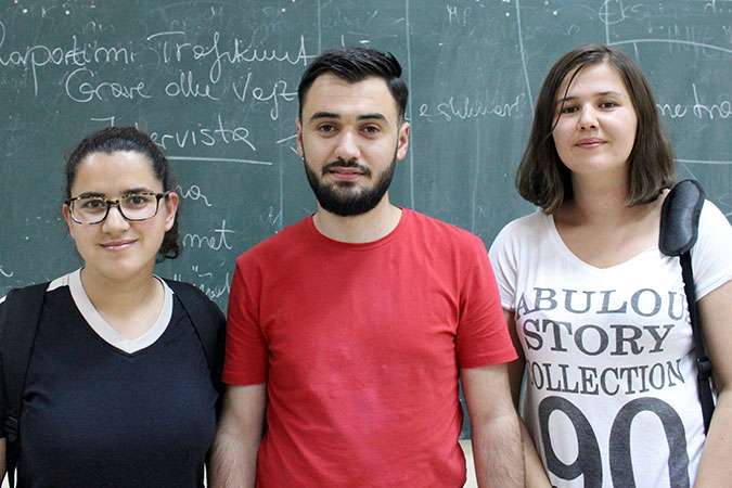 Xhoana Vranici, Spartak Kosta and Kleodora Elmasllari (left to right) are among the first group of journalism students in Albania to have followed a specific course on how to report trafficking of women and girls  Photo: UN Women Albania/Yllka Parllaku