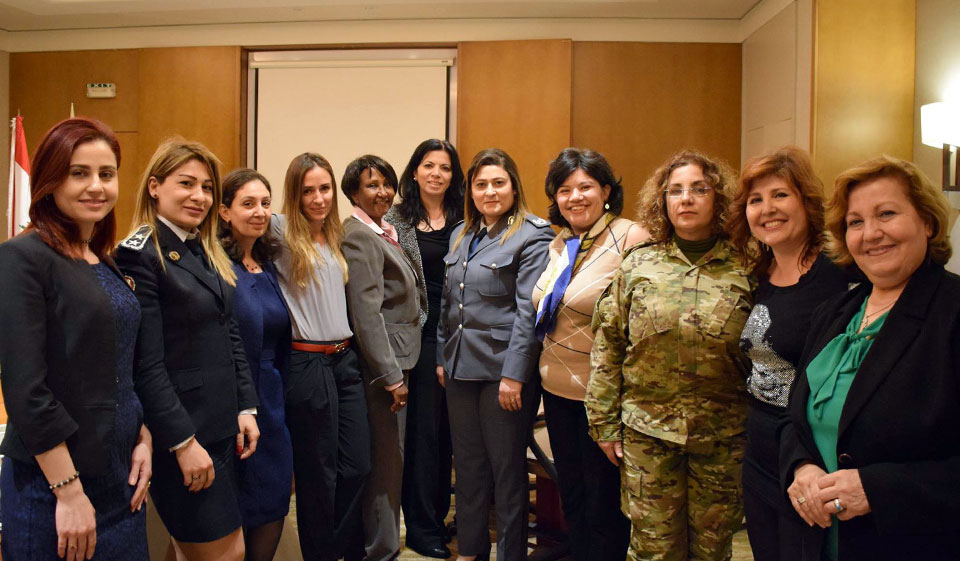 Women  from  security  and  defense  departments  participate  in  a  consultation  to  increase  women's  participation  in  these  sectors  with  members  of  the  National  Commission  for  Lebanese  Women,  UN  Women,  and  UNIFIL  on  April  12,  2018  in  Beirut,  Lebanon.  Photo:  National  Commission  for  Lebanese  Women