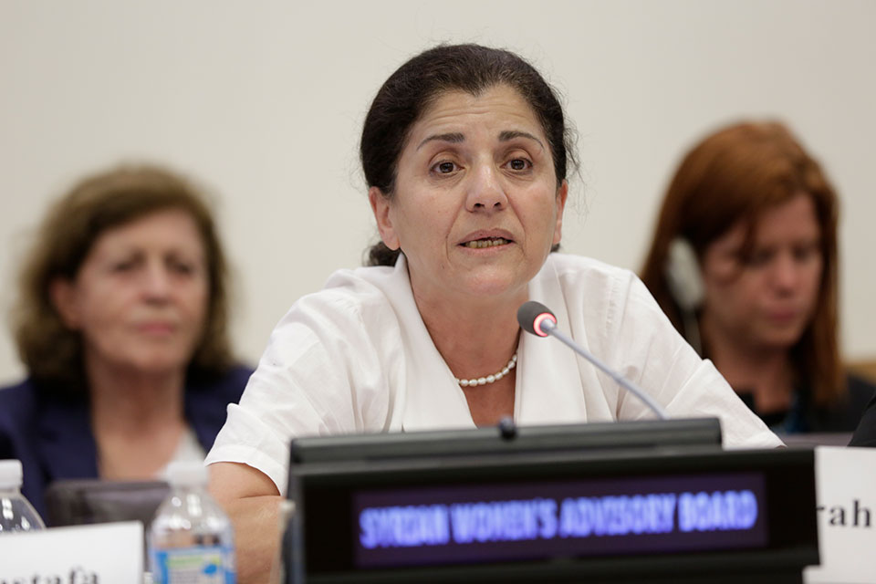 Monira Hwaijeh, one of the 12 members of the Syrian Women's Advisory Board speaks at an event at UN Headquarters in New York. Photo: UN Women/Ryan Brown