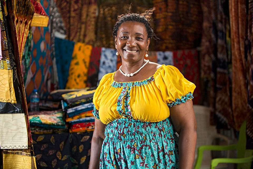 Betty Mtewele, a market vendor and Chair of the National Women's Association for Informal Market Traders. Photo: UN Women/Daniel Donald