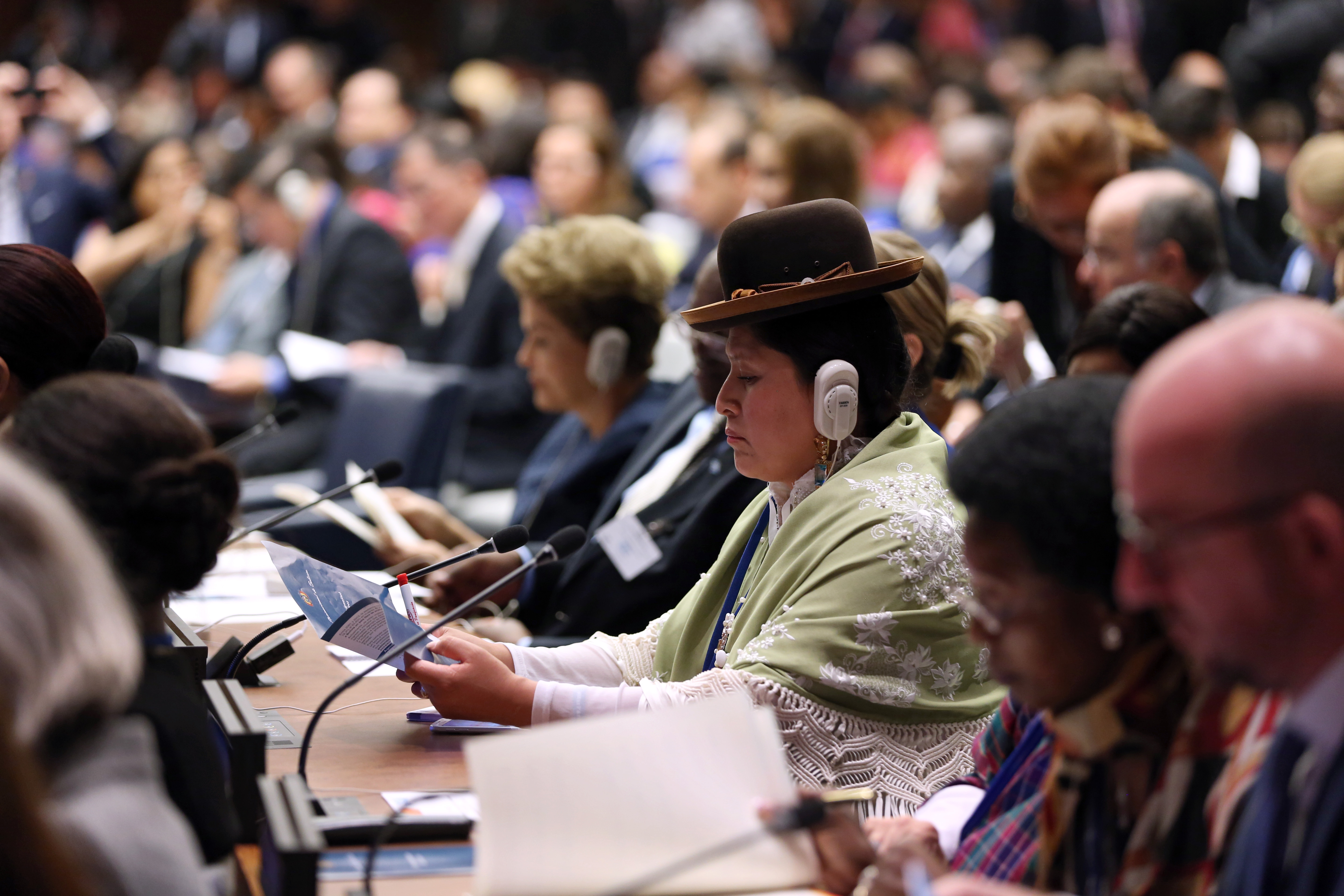 "During the 70th session of the General Assembly world leaders convened for the ""Global Leaders' Meeting on Gender Equality and Women's Empowerment: A Commitment to Action,"" hosted by UN Women, to personally commit to ending discrimination against women by 2030 and announce concrete and measurable actions to kick­start rapid change in their countries Photo: UN Women/Ryan Brown"
