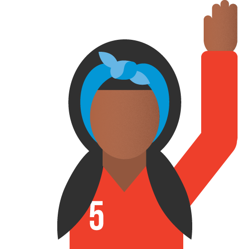 Icon- a girl raises her arm