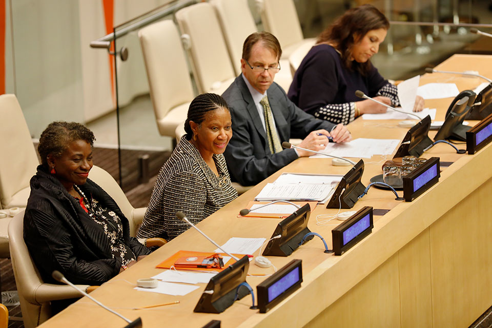 UN Women Executive Director Phumzile Mlambo-Ngcuka speaks at an event commemorating 10 years since the creation of the mandate at UN Headquarters in New York. Photo: UN Women/Ryan Brown