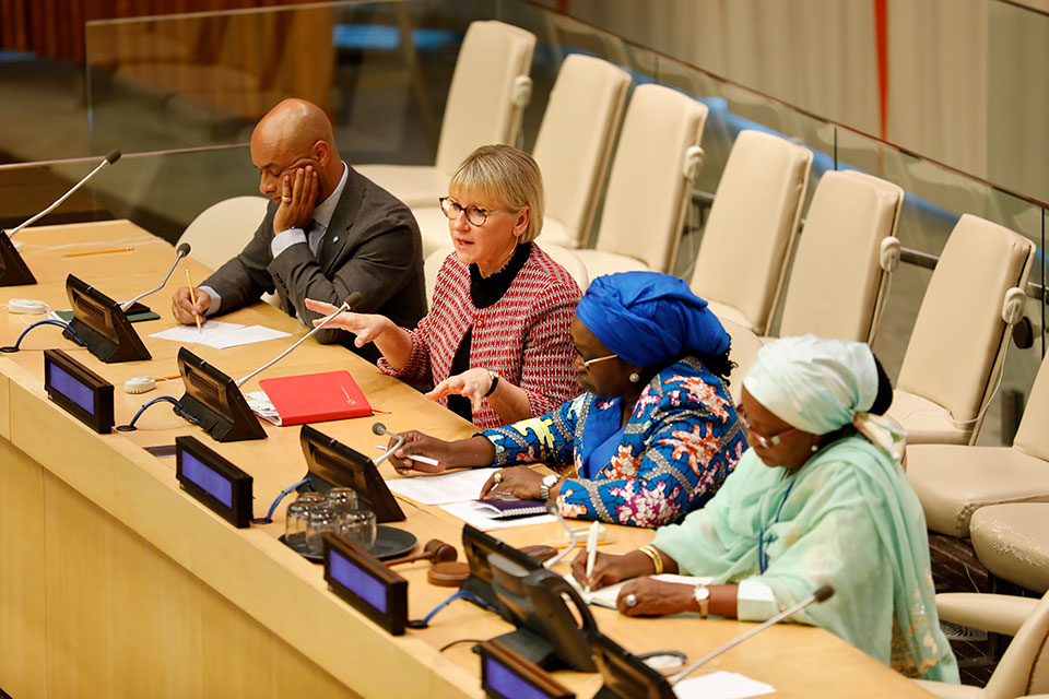 Former Special Representative of the UN Secretary General on Sexual Violence in Conflict Margot Wallstrom speaks at an event commemorating 10 years since the creation of the mandate at UN Headquarters in New York. Photo: UN Women/Ryan Brown