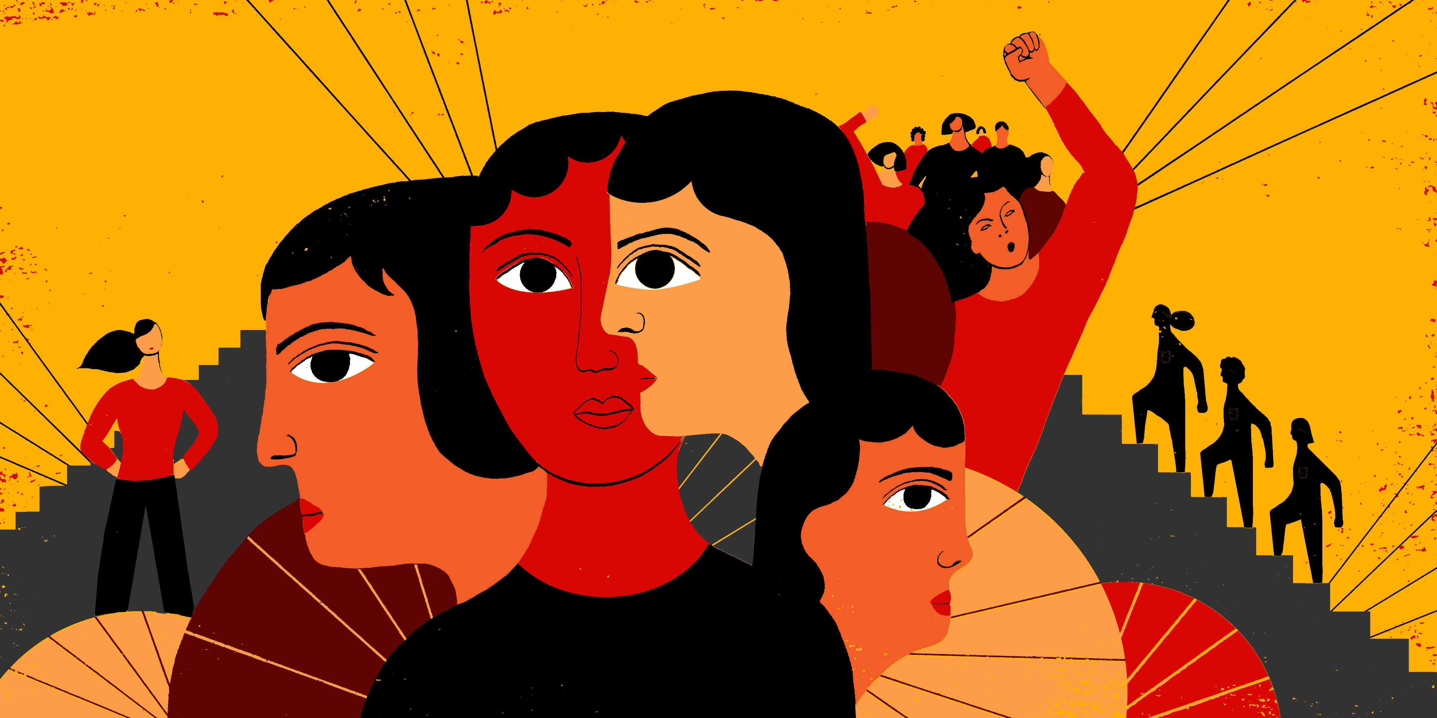 illustration: women and men  stand in solidarity