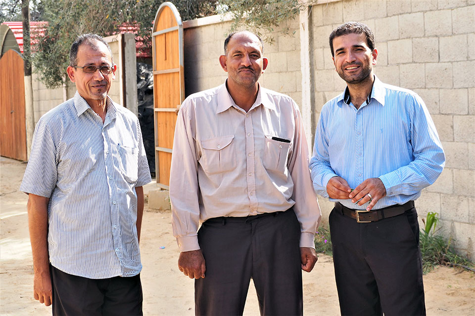 Wael Abu Ismael, Freeh Abu T'ema and Mossa Abu Taema, ambassadors of change to end early marriages in Khan Younis. Photo: UN Women/Eunjin Jeong