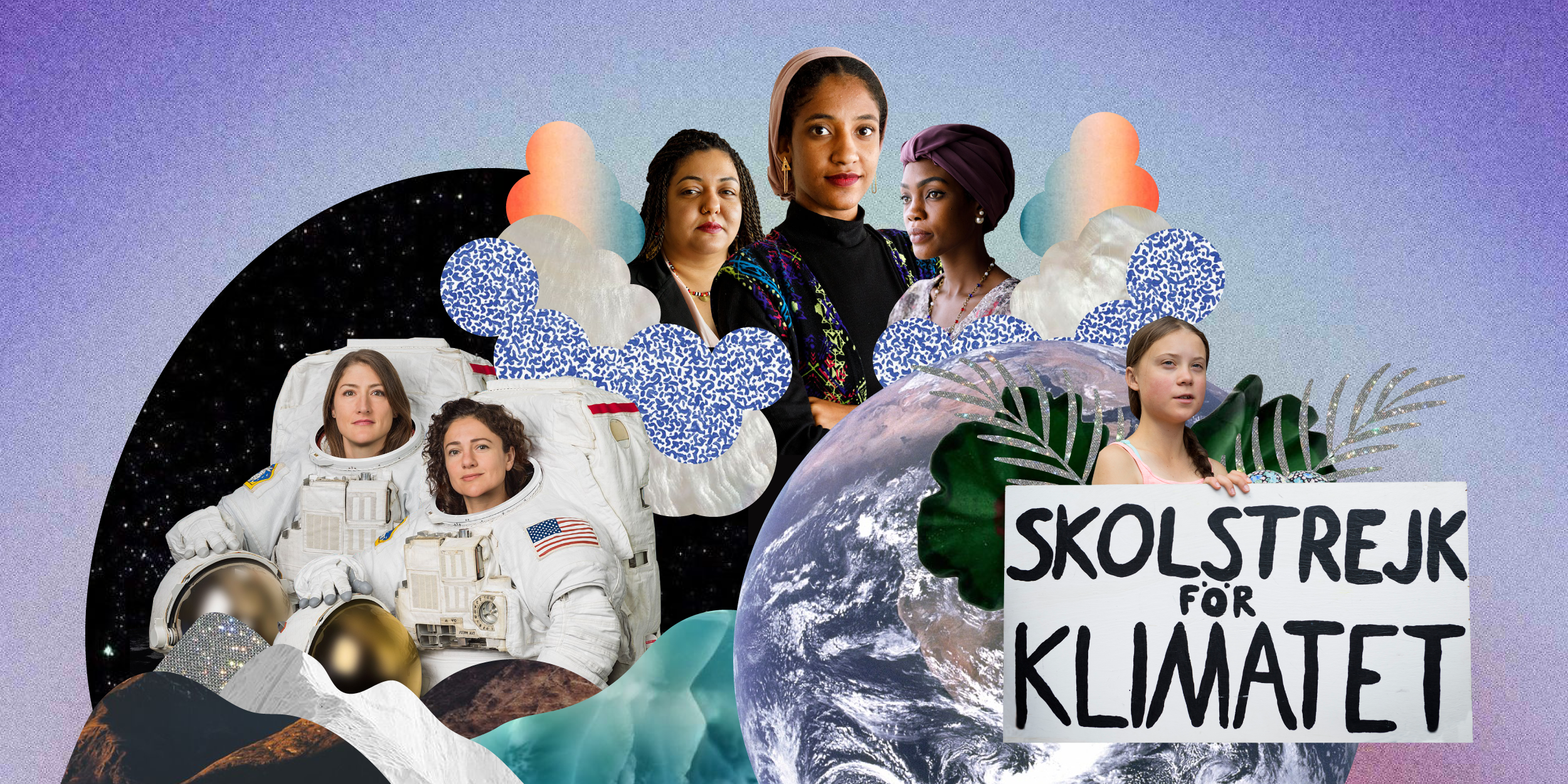 collage of some of the women who defined 2019: Women astronauts, Sudanese activists and Greta Thunberg