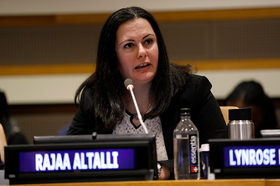 Rajaa Altalli, member of the Syrian Women's Advisory Board, speaks at the UN on women, peace and security issues. Photo: UN Women/Ryan Brown
