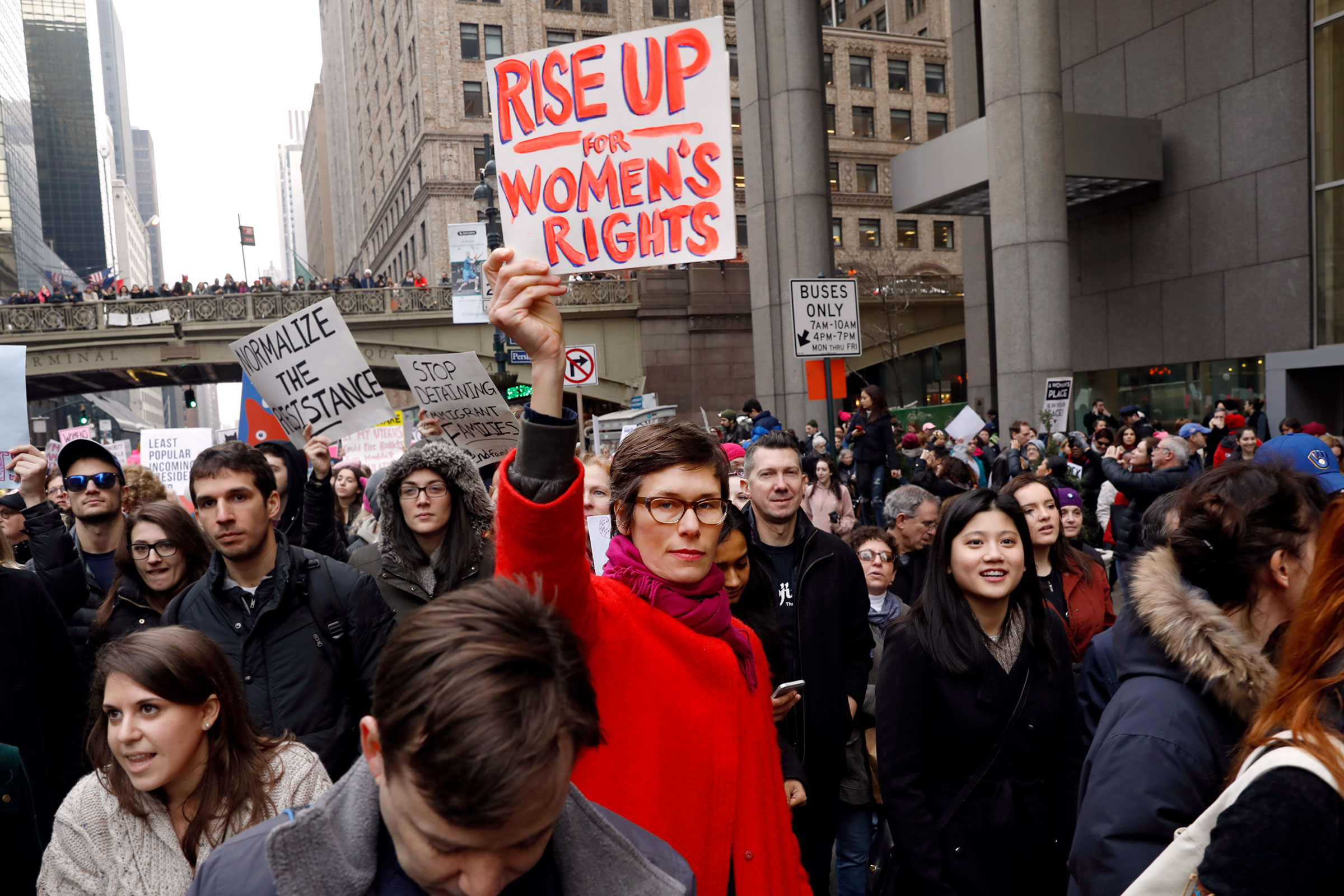 Women march in New York City. Photo: UN Women/Ryan Brown