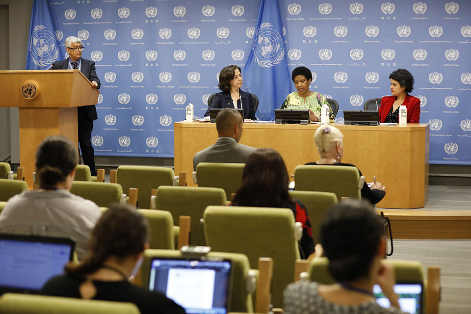 Shahra Razavi, Chief of Research and Data at UN Women;  Phumzile Mlambo-Ngcuka, Executive Director of UN Women; and  Marwa Sharafeldin, Activist and Board Member, Musawah, International Movement for Equality and Justice in the Muslim Family, at the launch of UN Women's flagship report, Progress of the World's Women 2019-2020: Families in a Changing World. Photo: UN Women/Ryan Brown