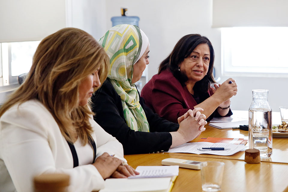 Asma Khader, Executive Director of Solidarity is Global Institute, during the meeting with the President of the UN General Assembly to present the work of civil society organizations in Jordan. Photo: UN Women/ Lauren Rooney