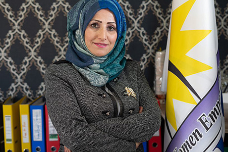 Madina Mousa, Syrian refugee and Protection Supervisor at the Women's Empowerment Organization (WEO) in Iraq. Photo: UN Women/ Said Elmobasher