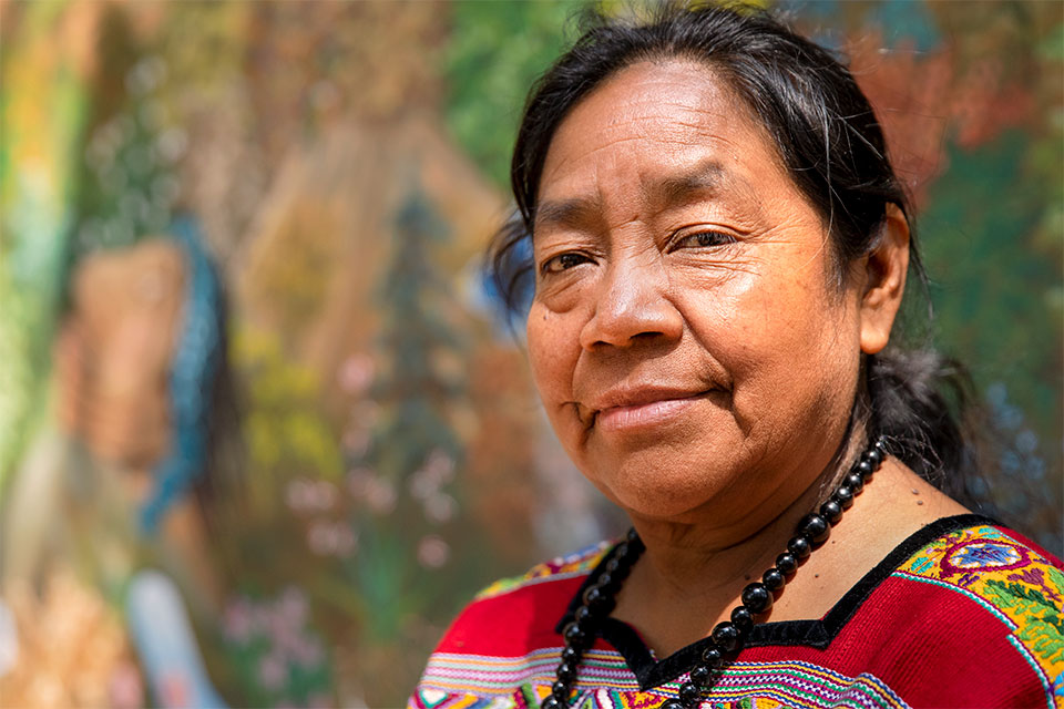 Rosalina Tuyuc Velásquez, a human rights activist and co-founder of a widows association in the municipality of Comalapa, has spearheaded the construction of a memorial for victims of the conflict in Comalapa.  Guatemala, 2018.   Photo: UN Women/Ryan Brown