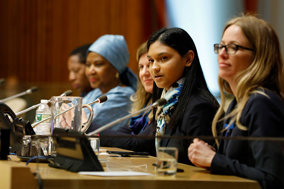 Kiara Nirghin speaks at the official commemoration of International Women's Day at UN Headquarters in New York in March 2019. Photo: UN Women/Ryan Brown