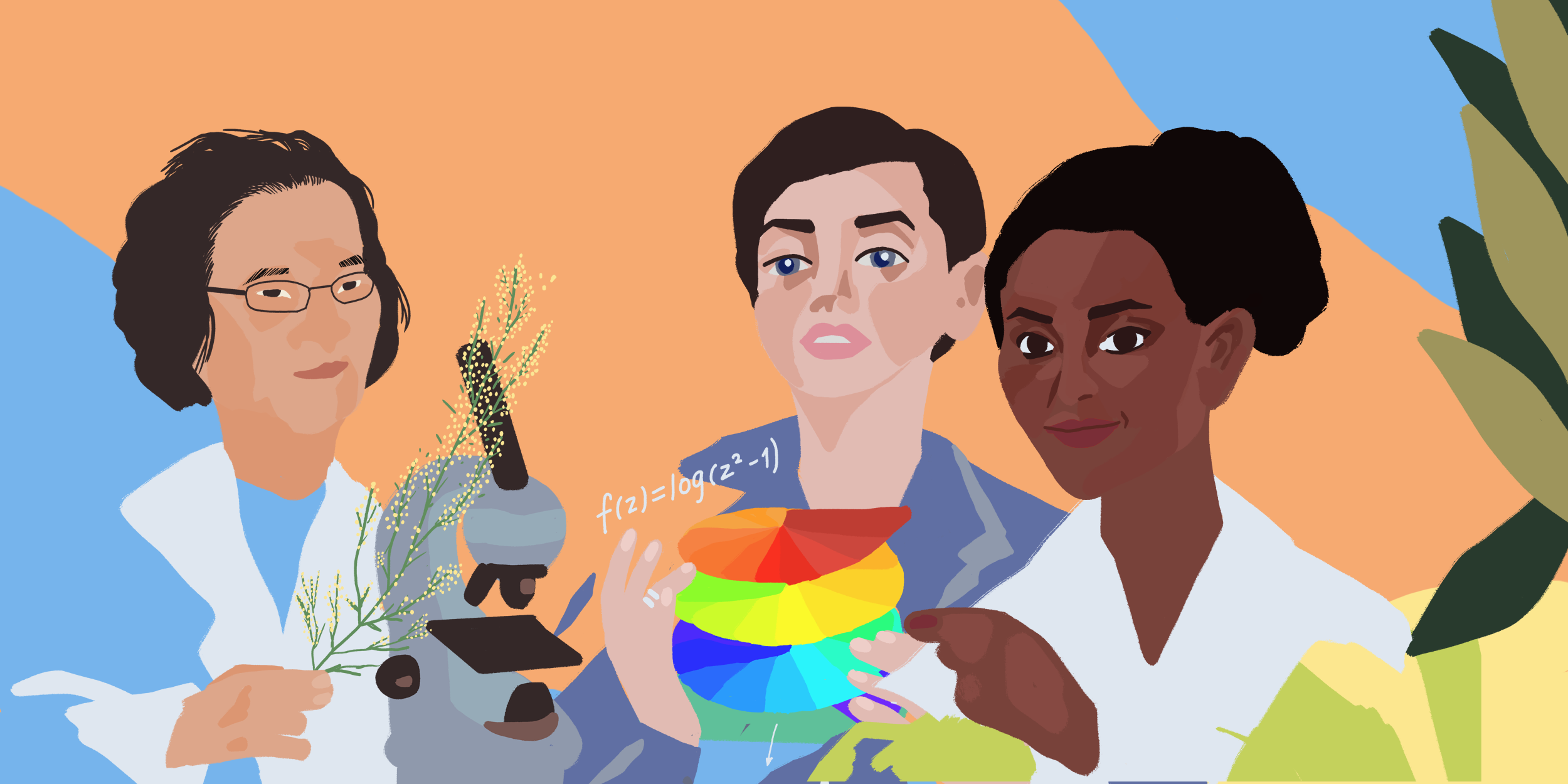 Illustration of women in science Tu Youyou, Maryam Mirzakhani and Segenet Kelemu