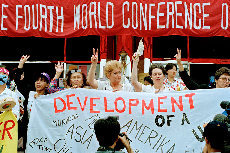 Participants at the Non-Governmental Organizations Forum meeting held in Huairou, China, as part of the United Nations Fourth World Conference on Women held in Beijing, China on 4-15 september 1995. UN Photo/Milton Grant